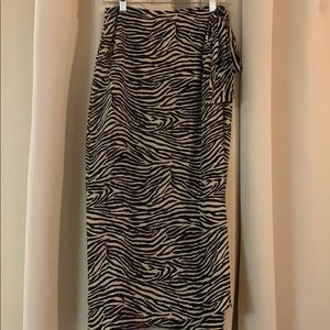Ann May 100% silk zebra print skirt